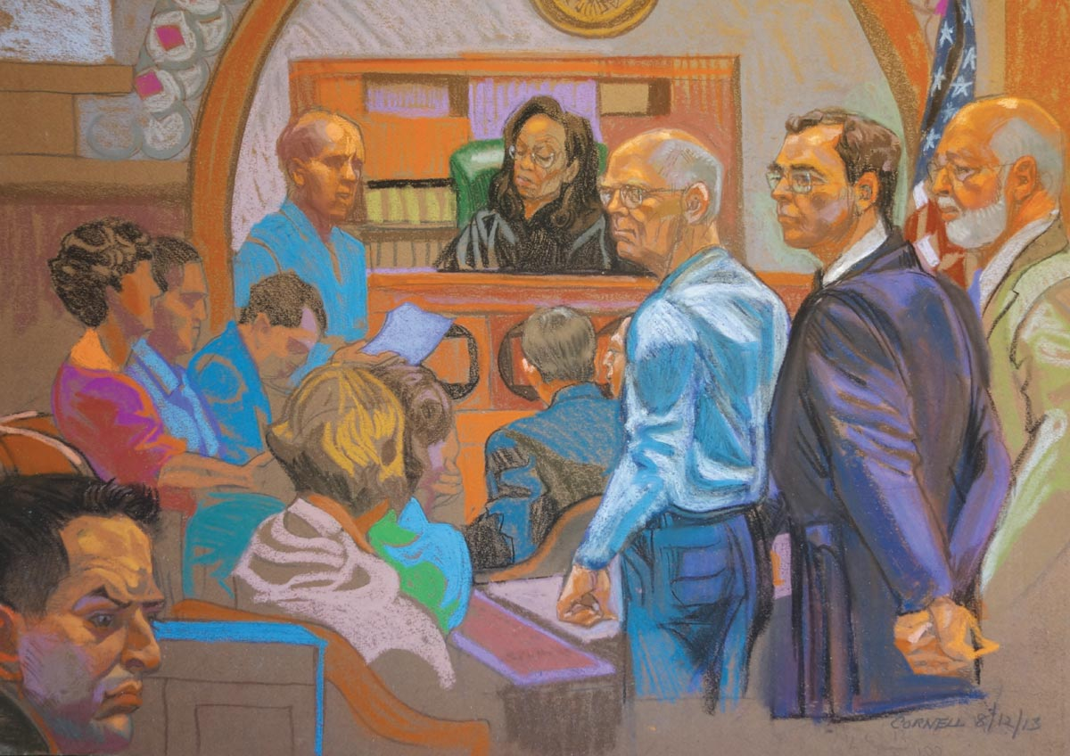 A courtroom illustration of Judge Casper on the bench