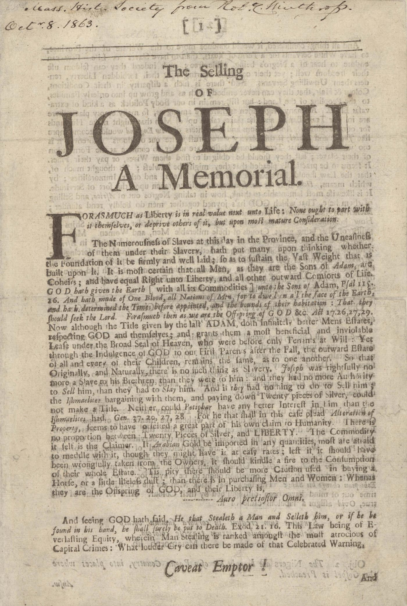 A page from The Selling of Joseph