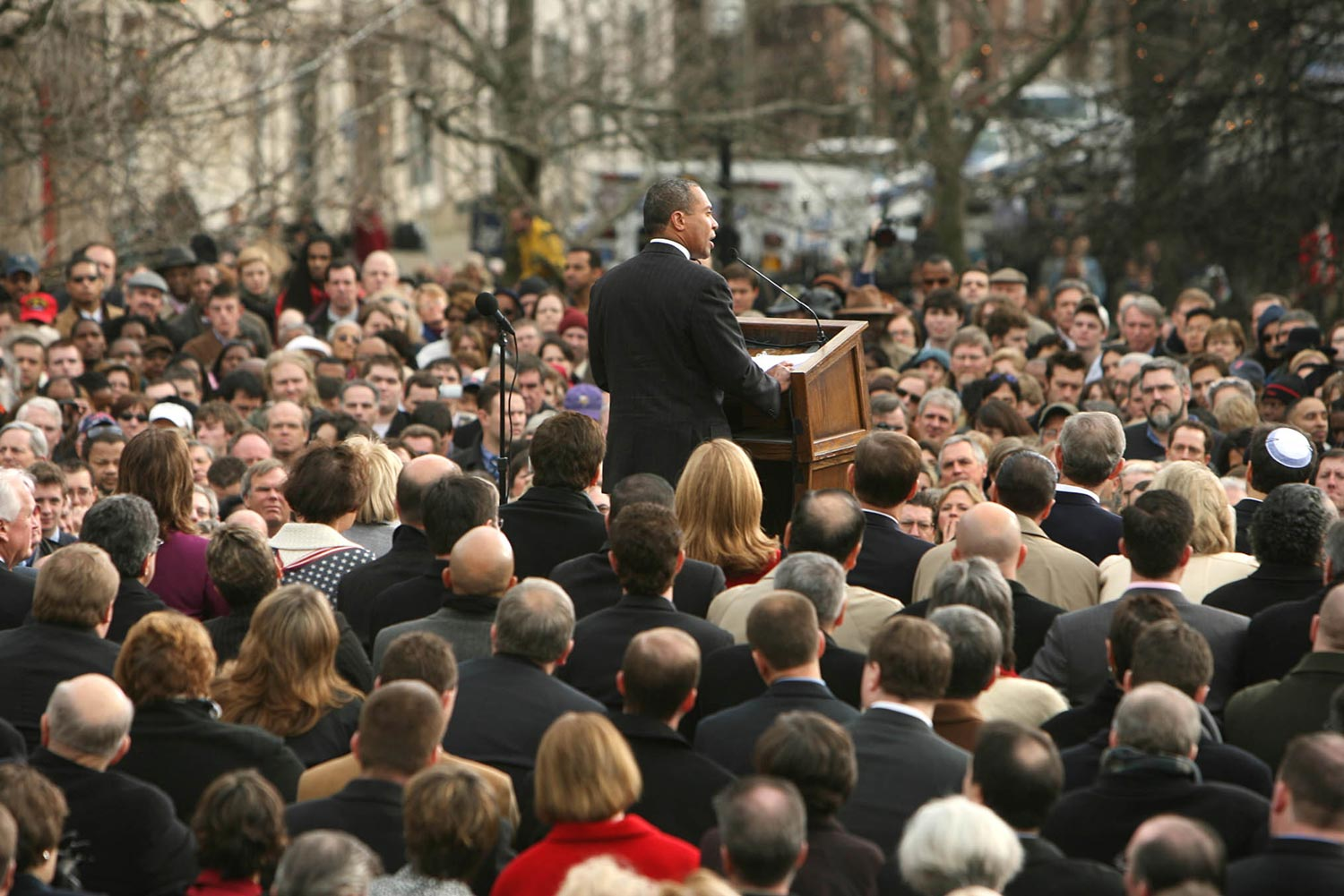 Patrick speaking at his inauguration